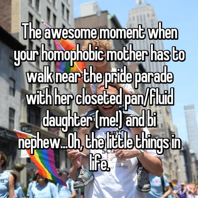 The awesome moment when your homophobic mother has to walk near the pride parade with her closeted pan/fluid daughter (me!) and bi nephew...Oh, the little things in life.