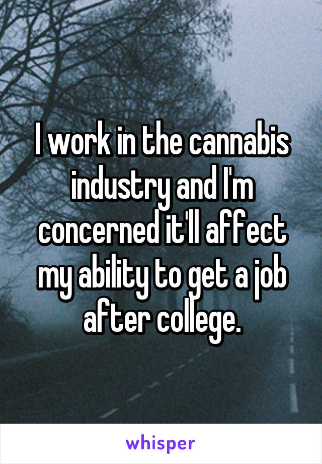 I work in the cannabis industry and I'm concerned it'll affect my ability to get a job after college.