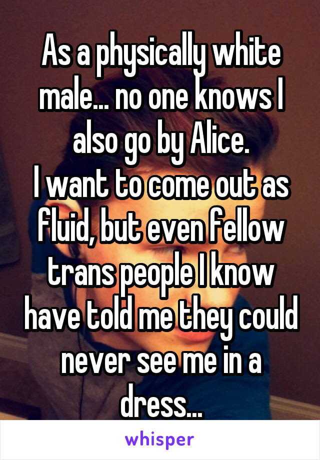 As a physically white male... no one knows I also go by Alice. I want to come out as fluid, but even fellow trans people I know have told me they could never see me in a dress...