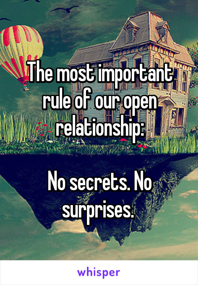 The most important rule of our open relationship:  No secrets. No surprises.