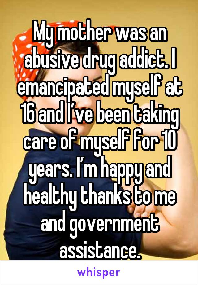 My mother was an abusive drug addict. I emancipated myself at 16 and I've been taking care of myself for 10 years. I'm happy and healthy thanks to me and government assistance.