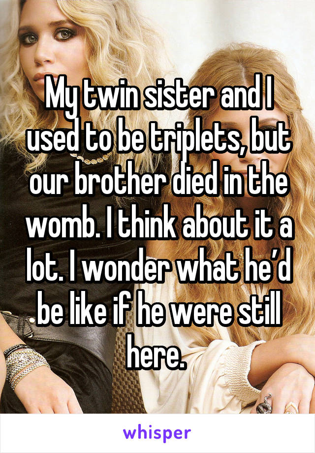 My twin sister and I used to be triplets, but our brother died in the womb. I think about it a lot. I wonder what he'd be like if he were still here.