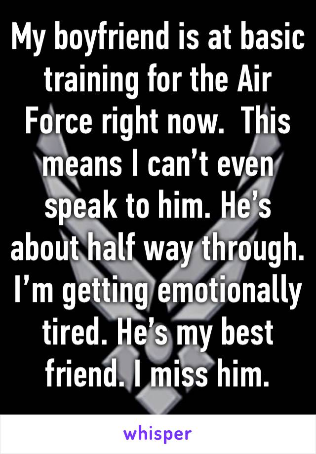 My boyfriend is at basic training for the Air Force right now.  This means I can't even speak to him. He's about half way through.  I'm getting emotionally tired. He's my best friend. I miss him.