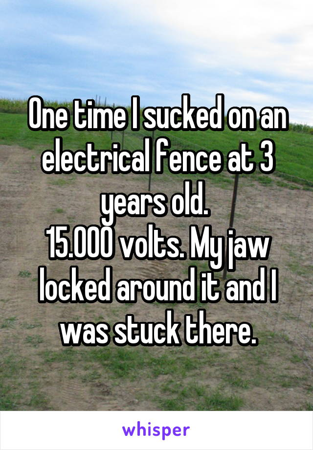 One time I sucked on an electrical fence at 3 years old.  15.000 volts. My jaw locked around it and I was stuck there.