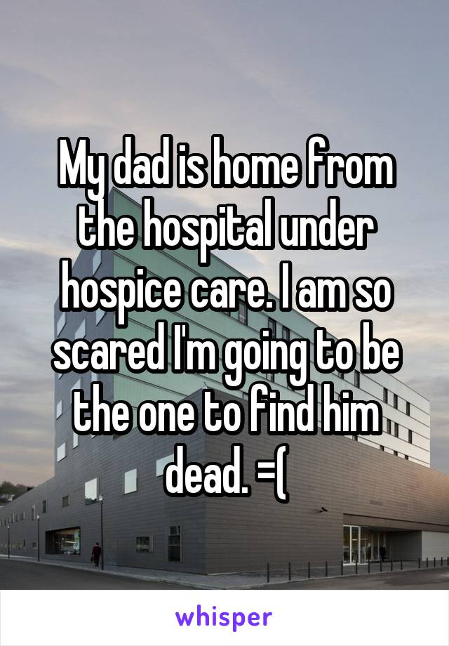 My dad is home from the hospital under hospice care. I am so scared I'm going to be the one to find him dead. =(