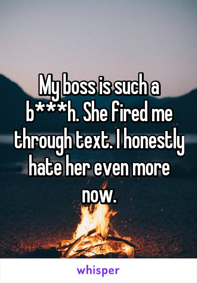 My boss is such a b***h. She fired me through text. I honestly hate her even more now.