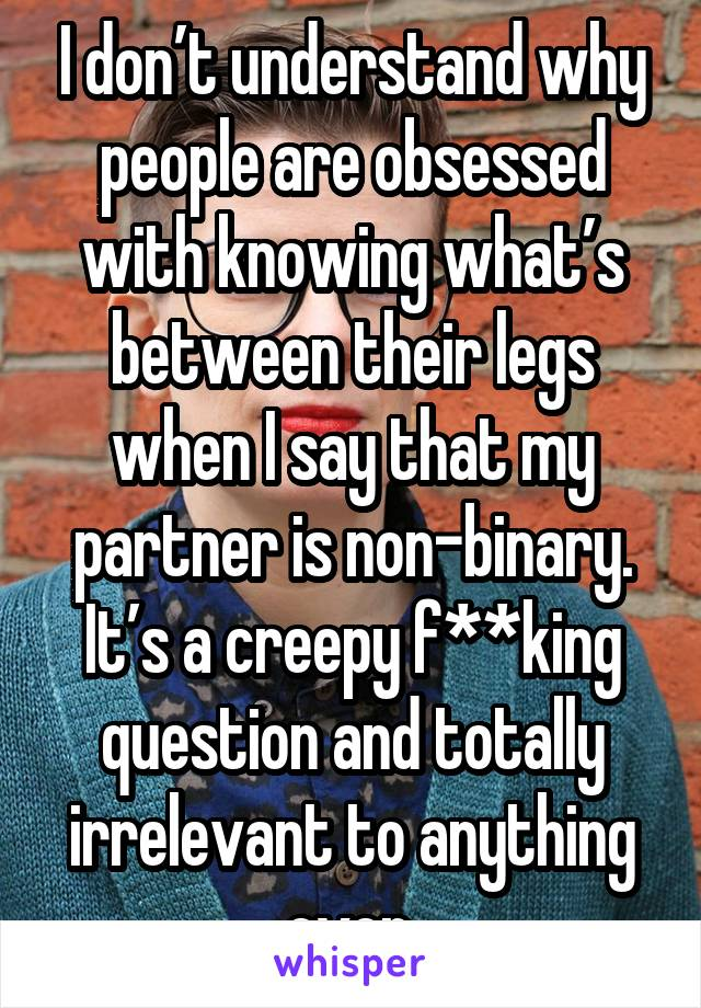 I don't understand why people are obsessed with knowing what's between their legs when I say that my partner is non-binary. It's a creepy f**king question and totally irrelevant to anything ever.