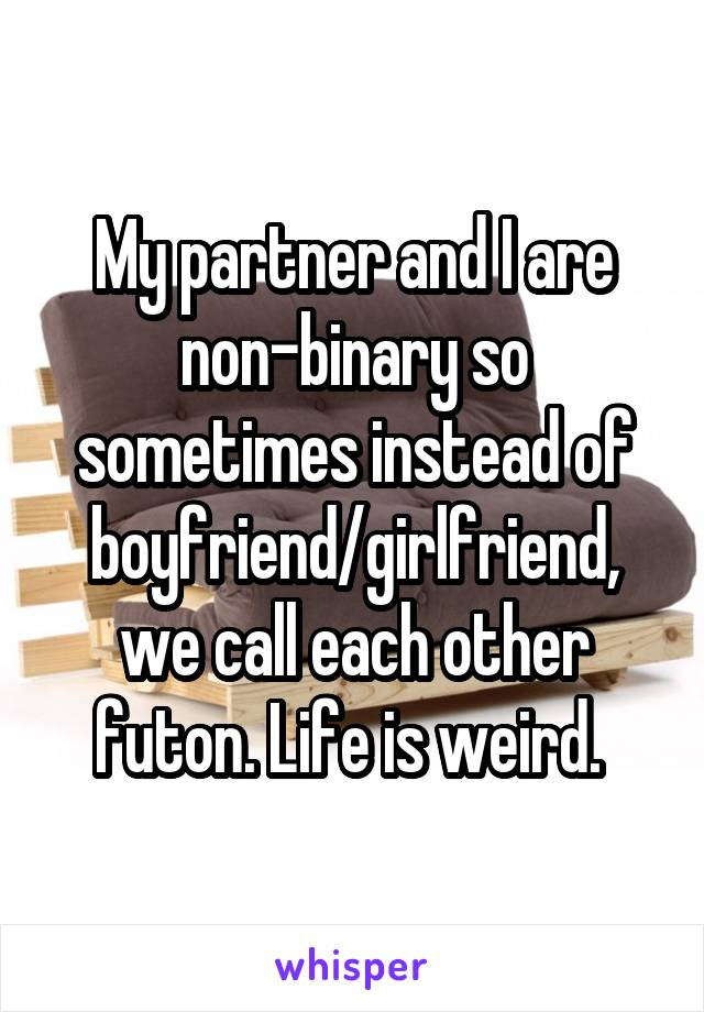 My partner and I are non-binary so sometimes instead of boyfriend/girlfriend, we call each other futon. Life is weird.