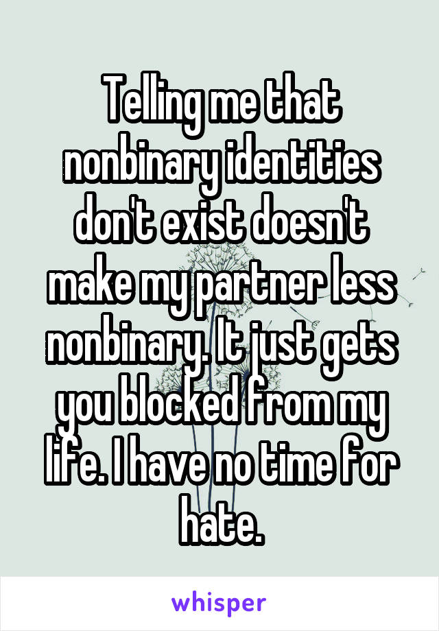 Telling me that nonbinary identities don't exist doesn't make my partner less nonbinary. It just gets you blocked from my life. I have no time for hate.