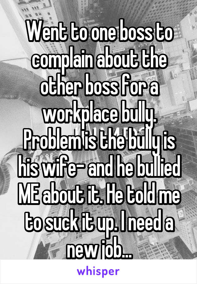 Went to one boss to complain about the other boss for a workplace bully. Problem is the bully is his wife- and he bullied ME about it. He told me to suck it up. I need a new job...