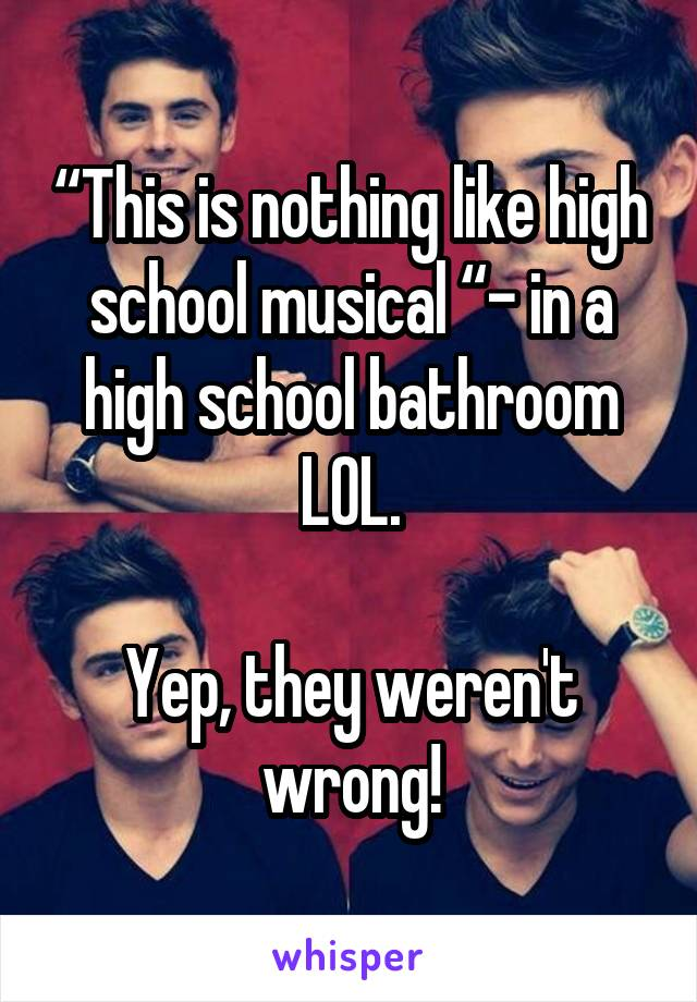 """""""This is nothing like high school musical """"- in a high school bathroom LOL.  Yep, they weren't wrong!"""