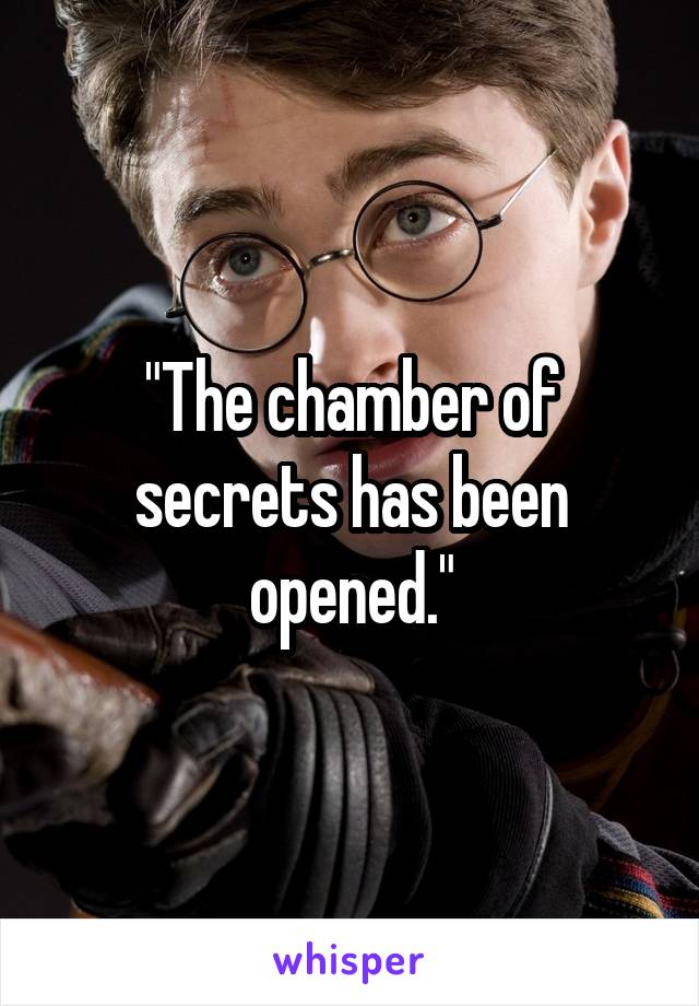 """""""The chamber of secrets has been opened."""""""