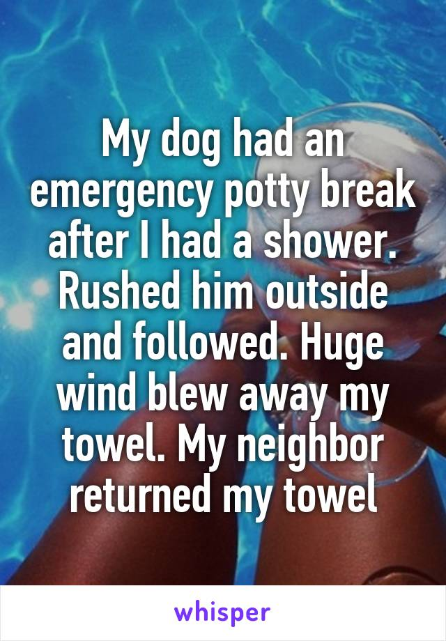 My dog had an emergency potty break after I had a shower. Rushed him outside and followed. Huge wind blew away my towel. My neighbor returned my towel