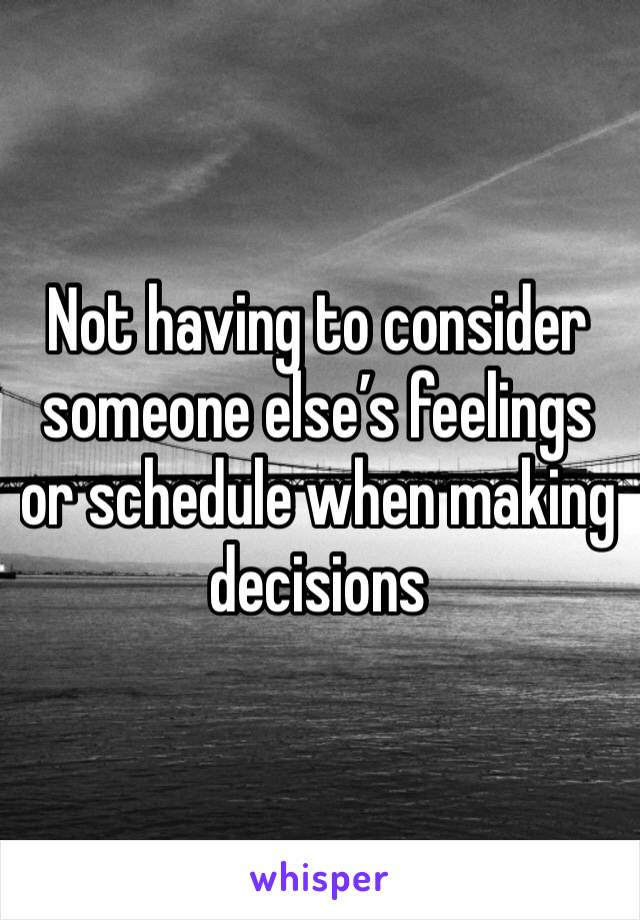 Not having to consider someone else's feelings or schedule when making decisions