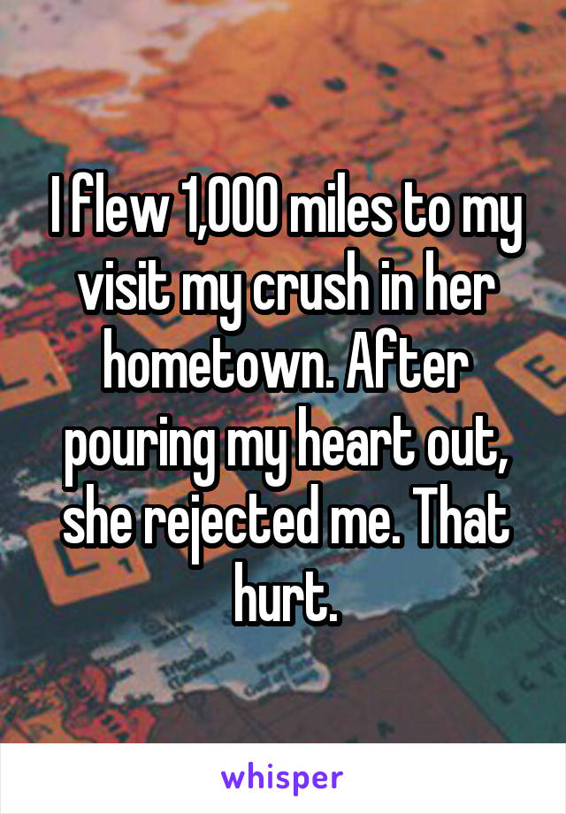 I flew 1,000 miles to my visit my crush in her hometown. After pouring my heart out, she rejected me. That hurt.
