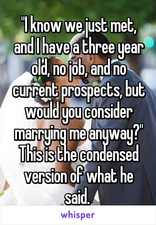 """I know we just met, and I have a three year old, no job, and no current prospects, but would you consider marrying me anyway?"" This is the condensed version of what he said."