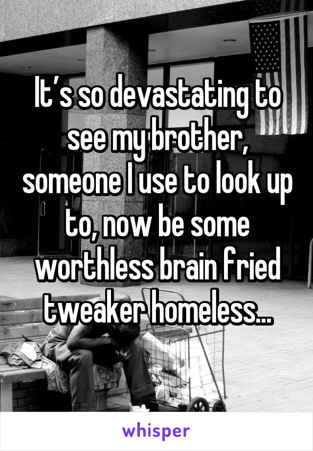 It's so devastating to see my brother, someone I use to look up to, now be some worthless brain fried tweaker homeless...