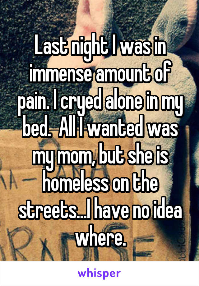 Last night I was in immense amount of pain. I cryed alone in my bed.  All I wanted was my mom, but she is homeless on the streets...I have no idea where.