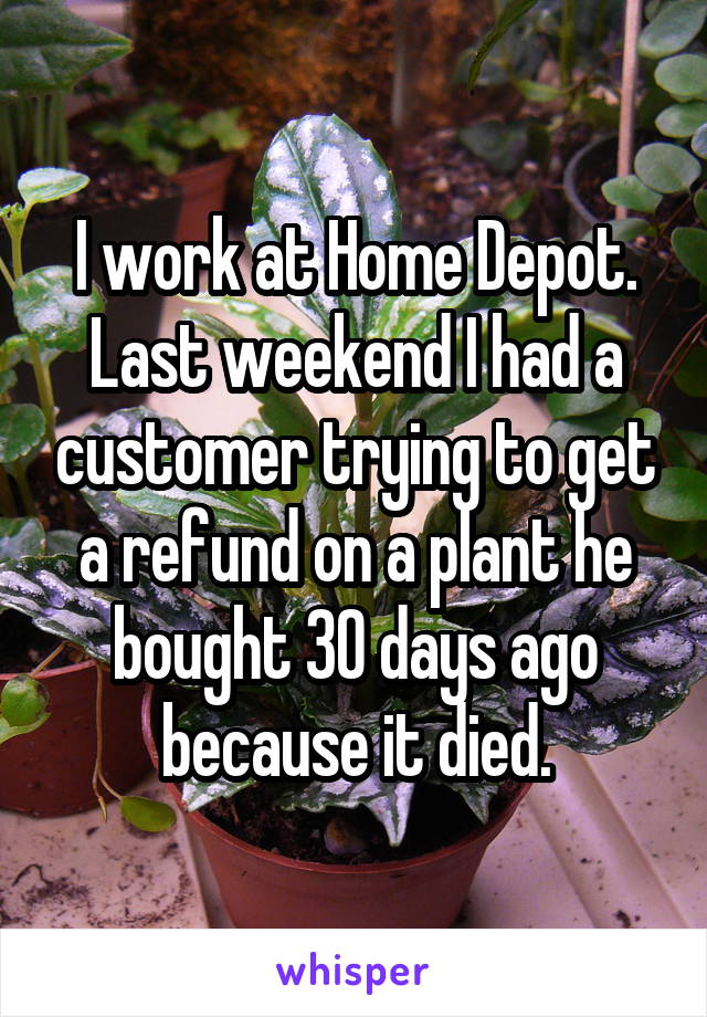 I work at Home Depot. Last weekend I had a customer trying to get a refund on a plant he bought 30 days ago because it died.