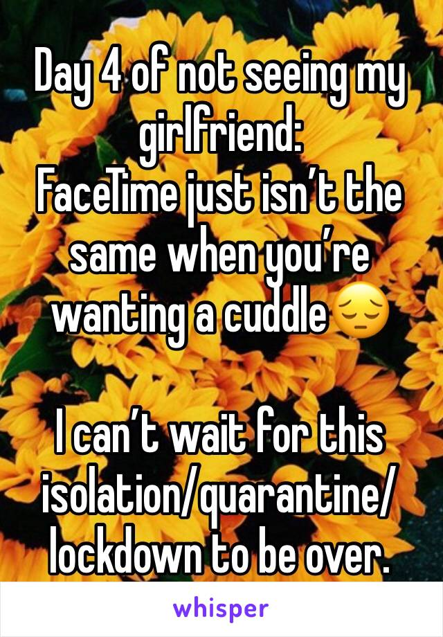 Day 4 of not seeing my girlfriend:  FaceTime just isn't the same when you're wanting a cuddle😔  I can't wait for this isolation/quarantine/lockdown to be over.