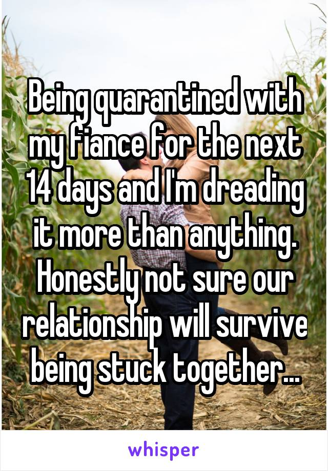 Being quarantined with my fiance for the next 14 days and I'm dreading it more than anything. Honestly not sure our relationship will survive being stuck together...