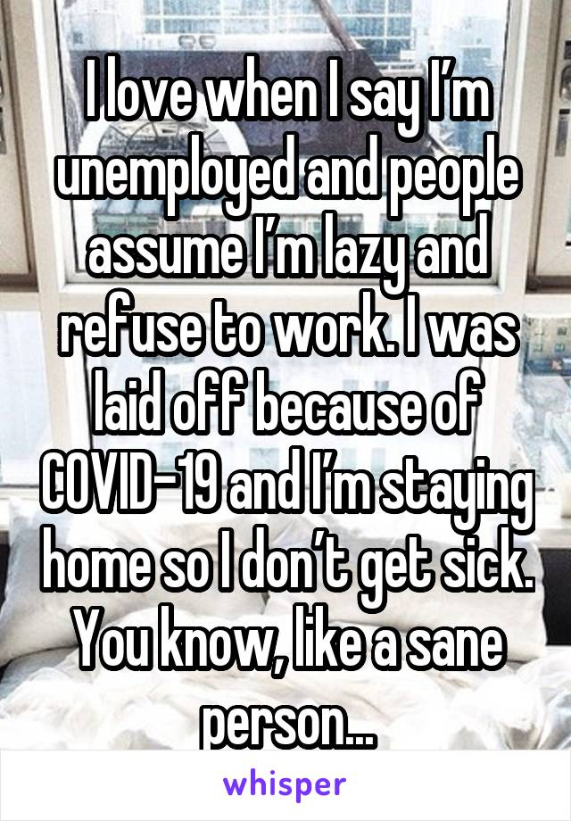 I love when I say I'm unemployed and people assume I'm lazy and refuse to work. I was laid off because of COVID-19 and I'm staying home so I don't get sick. You know, like a sane person...
