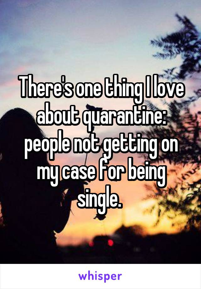 There's one thing I love about quarantine: people not getting on my case for being single.