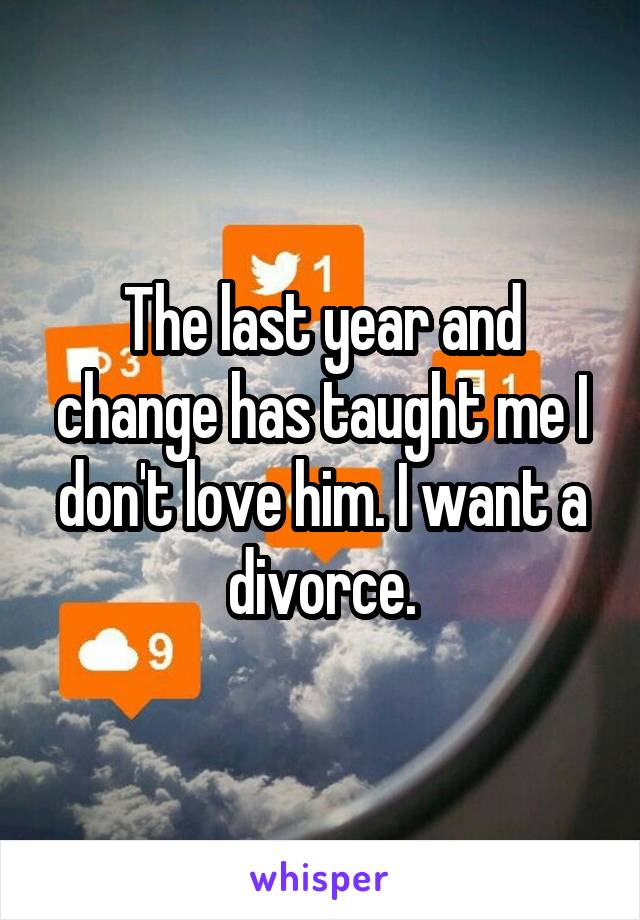 The last year and change has taught me I don't love him. I want a divorce.