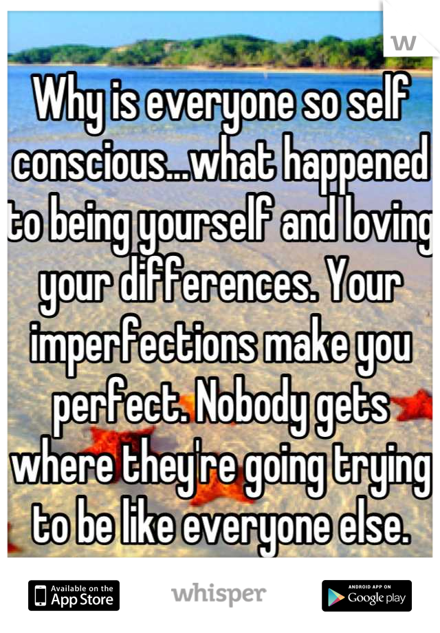 Why is everyone so self conscious...what happened to being yourself and loving your differences. Your imperfections make you perfect. Nobody gets where they're going trying to be like everyone else.