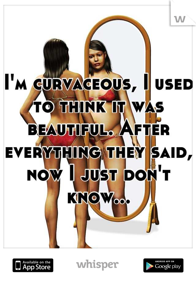 I'm curvaceous, I used to think it was beautiful. After everything they said, now I just don't know...