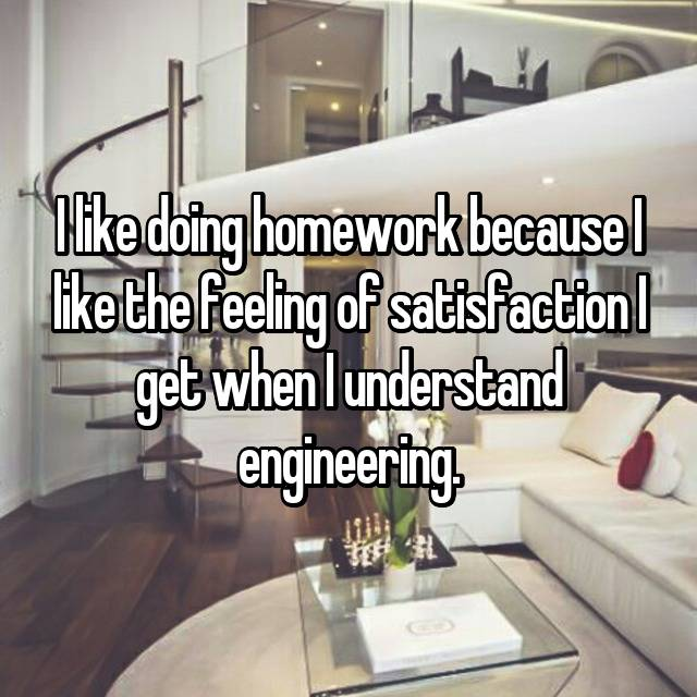 I like doing homework because I like the feeling of satisfaction I get when I understand engineering.