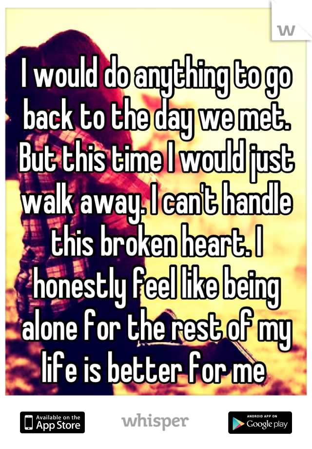 I would do anything to go back to the day we met. But this time I would just walk away. I can't handle this broken heart. I honestly feel like being alone for the rest of my life is better for me