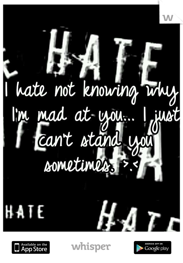 I hate not knowing why I'm mad at you... I just can't stand you sometimes. >.<