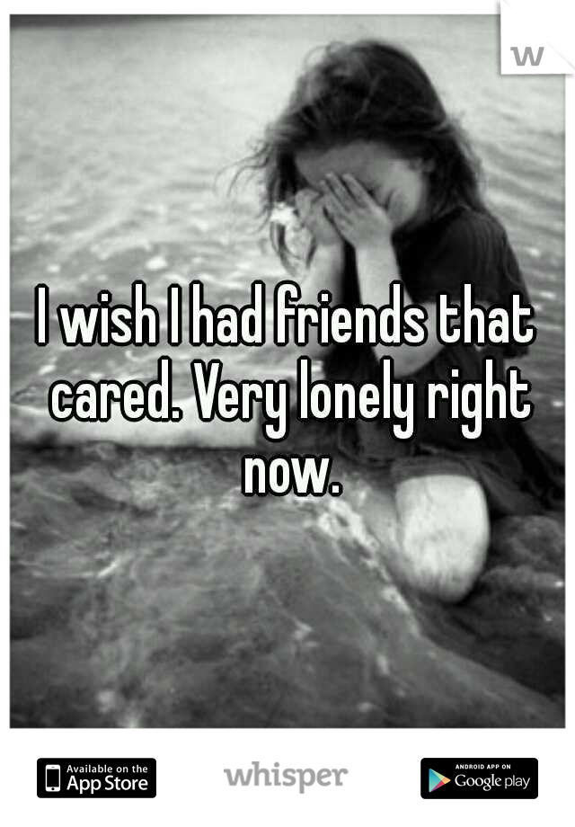 I wish I had friends that cared. Very lonely right now.