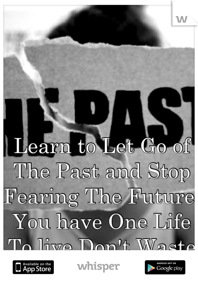 Learn to Let Go of The Past and Stop Fearing The Future. You have One Life To live Don't Waste It..