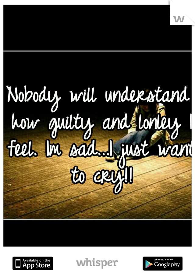 Nobody will understand how guilty and lonley I feel. Im sad...I just want to cry!!