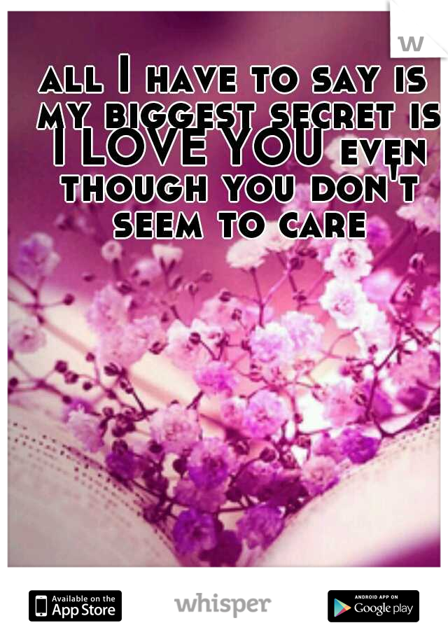 all I have to say is my biggest secret is I LOVE YOU even though you don't seem to care