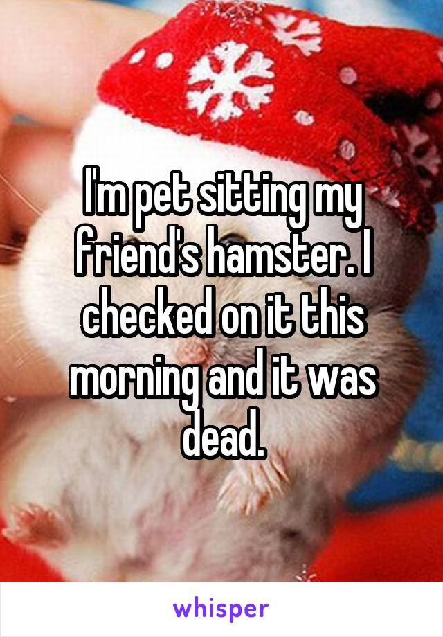 I'm pet sitting my friend's hamster. I checked on it this morning and it was dead.