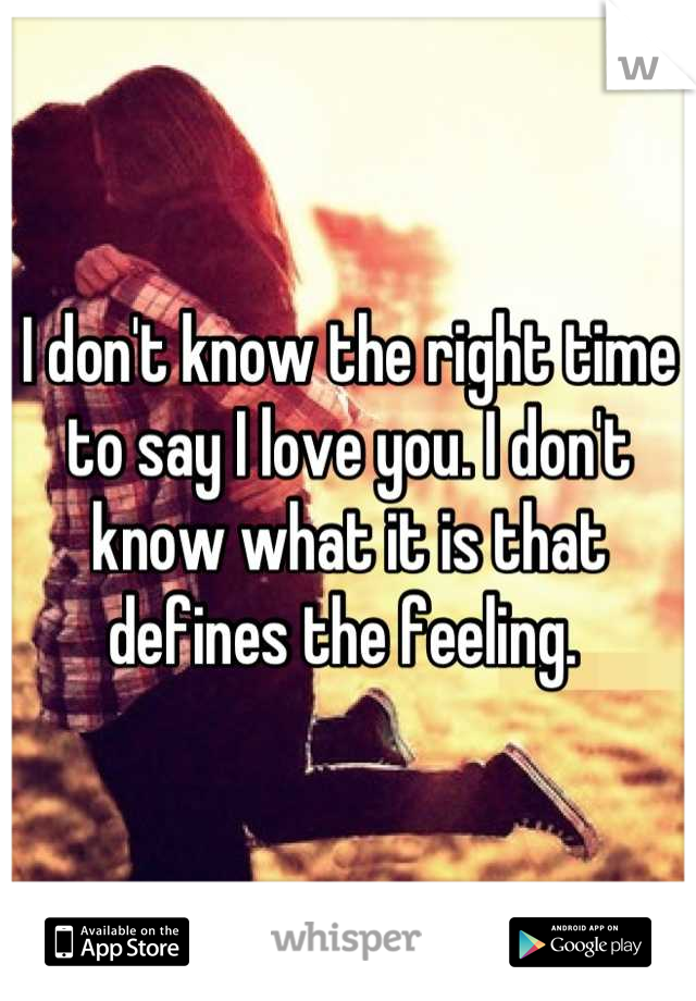 I don't know the right time to say I love you. I don't know what it is that defines the feeling.