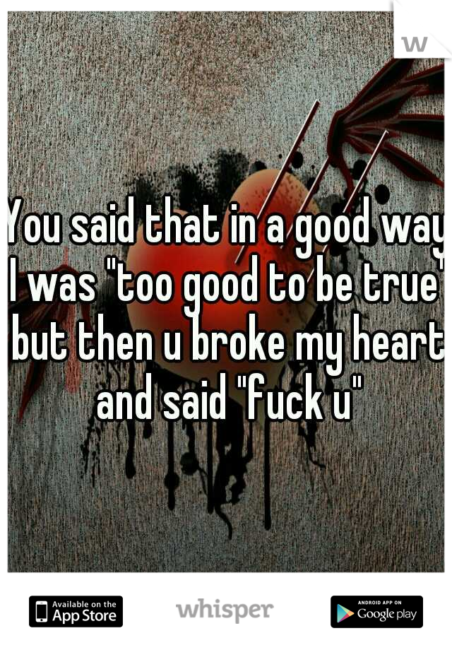"You said that in a good way I was ""too good to be true"" but then u broke my heart and said ""fuck u"""