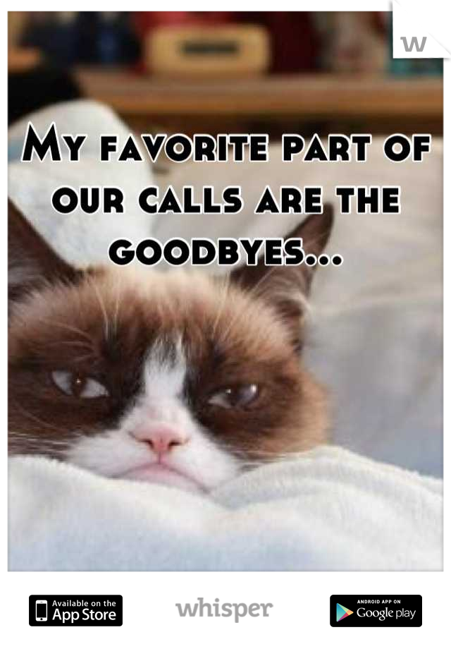 My favorite part of our calls are the goodbyes...