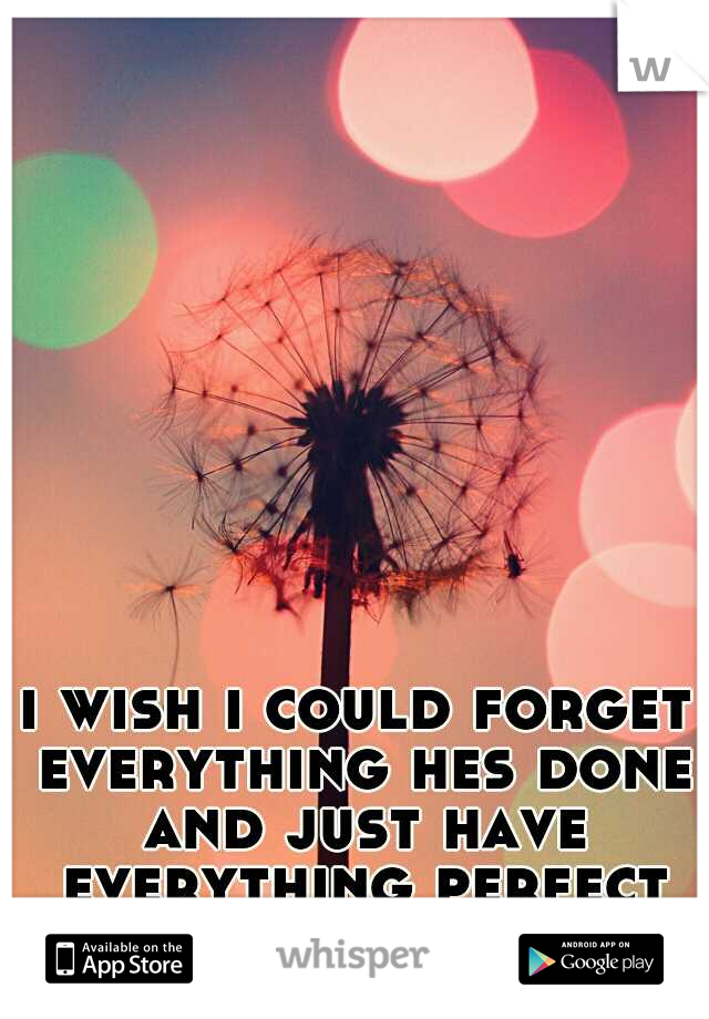 i wish i could forget everything hes done and just have everything perfect again.