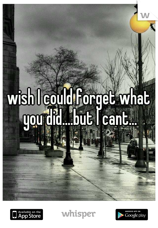 wish I could forget what you did....but I cant...