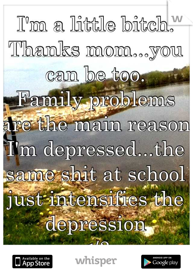 I'm a little bitch.  Thanks mom...you can be too. Family problems are the main reason I'm depressed...the same shit at school just intensifies the depression </3