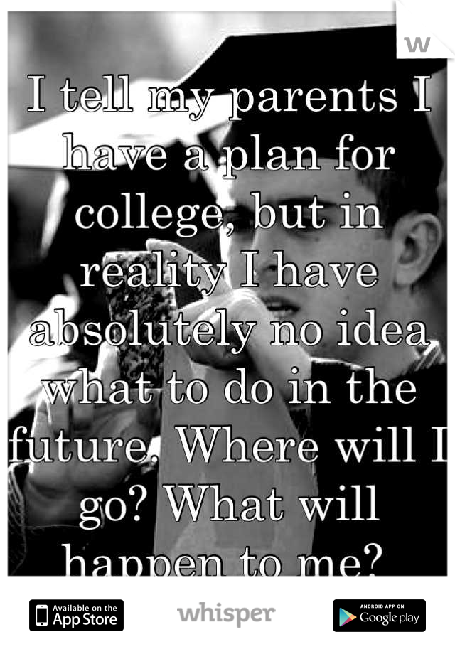 I tell my parents I have a plan for college, but in reality I have absolutely no idea what to do in the future. Where will I go? What will happen to me?