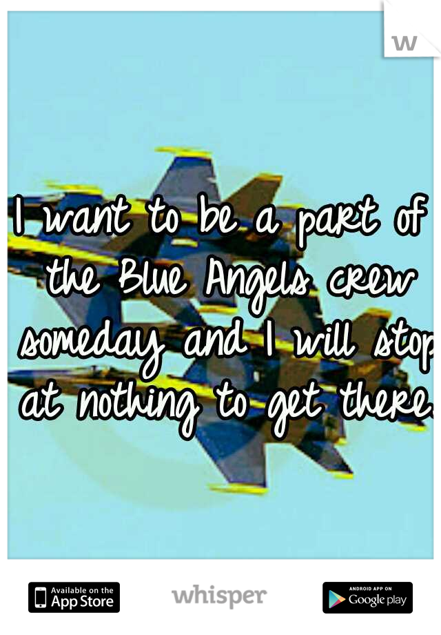 I want to be a part of the Blue Angels crew someday and I will stop at nothing to get there.