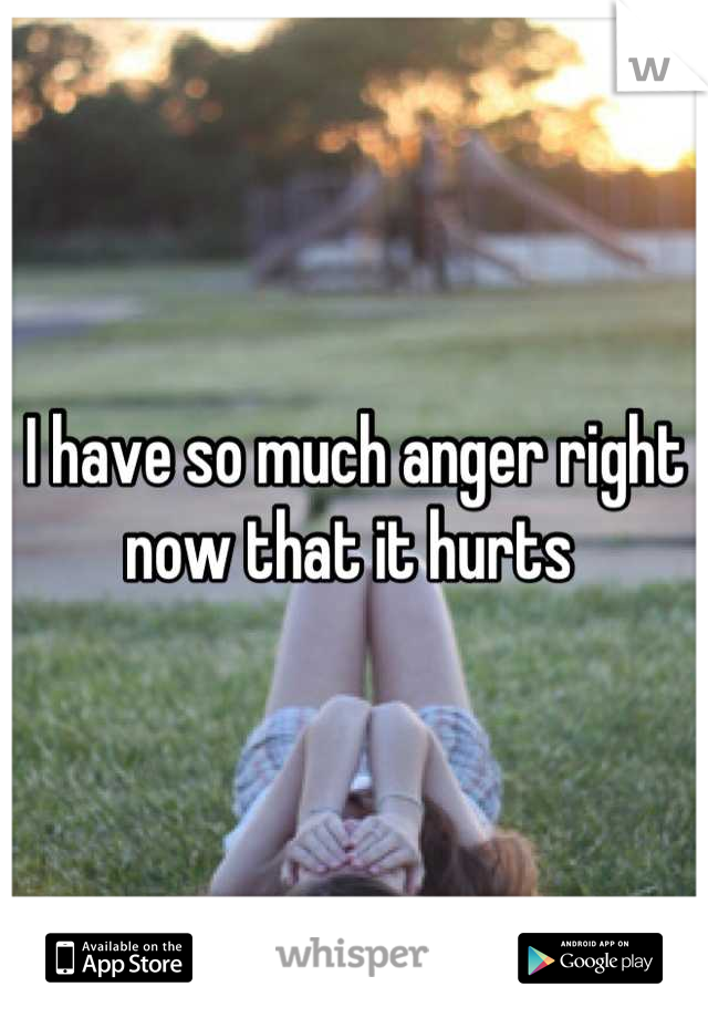 I have so much anger right now that it hurts