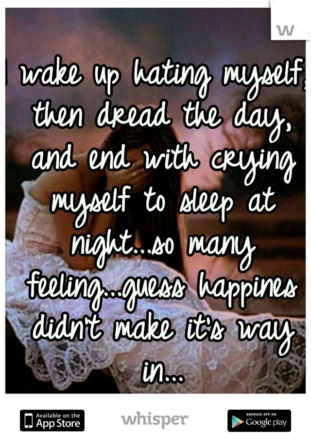 I wake up hating myself, then dread the day, and end with crying myself to sleep at night...so many feeling...guess happines didn't make it's way in...