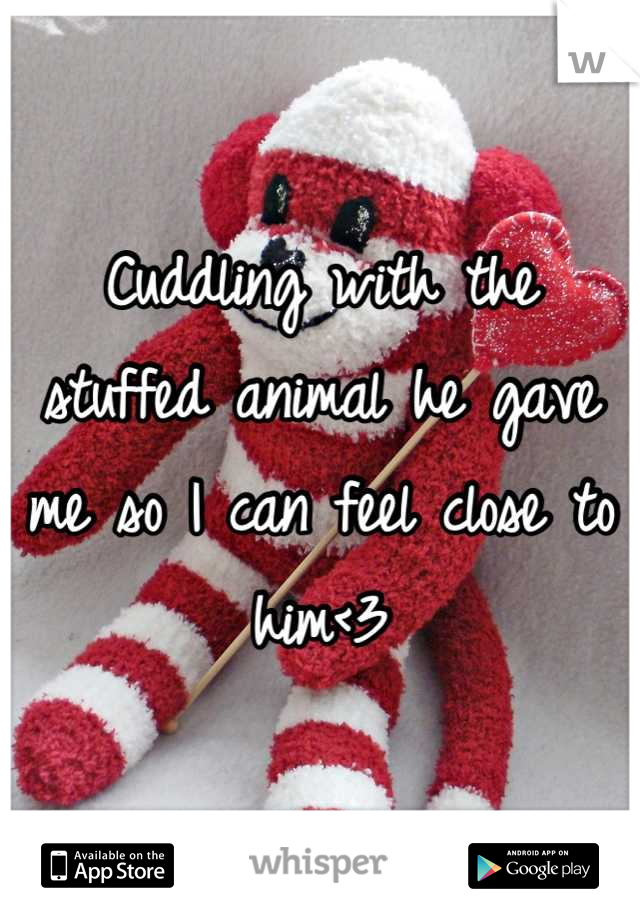 Cuddling with the stuffed animal he gave me so I can feel close to him<3