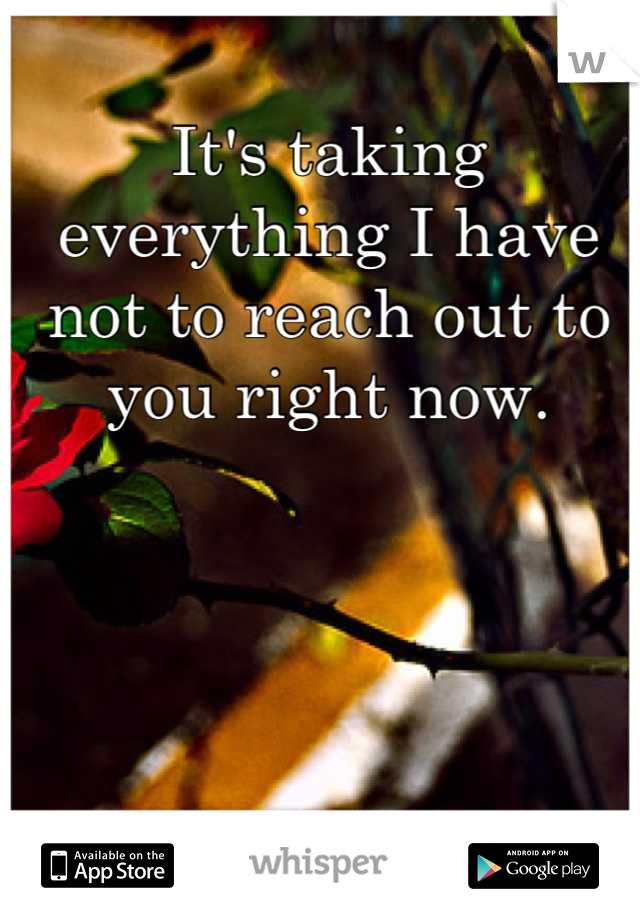 It's taking everything I have not to reach out to you right now.